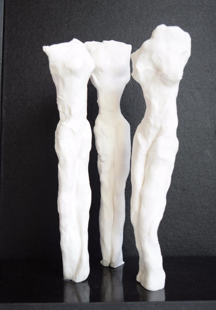 Three Graces - white porcelain, black granite base